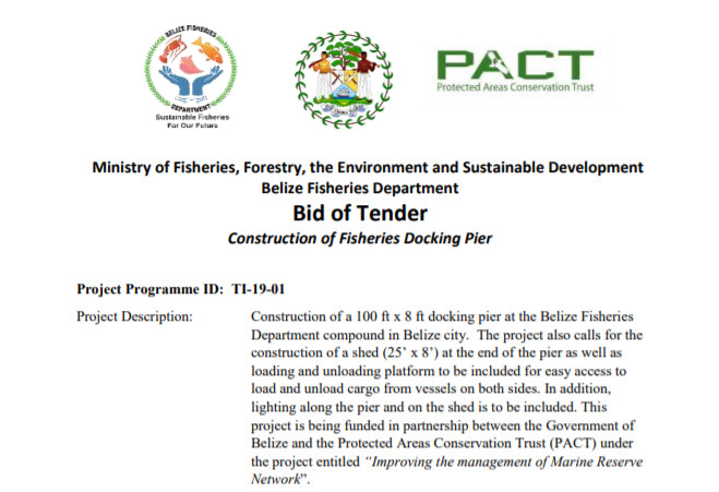 Bid of Tender: Construction of Fisheries Docking Pier
